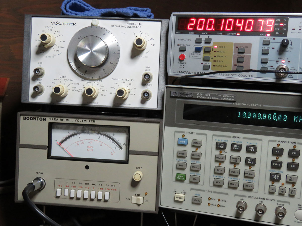 Simplemill Home Page Rf Millivoltmeter Above On Left Is An Boonton 92ea Top Of That A Wavetek 144 Waveform Sweep Generator